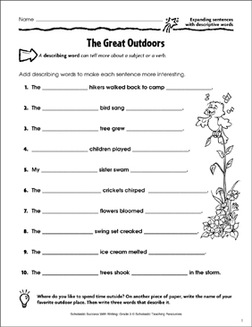 The Great Outdoors (Expanding Sentences With Descriptive Words) - Printable Worksheet
