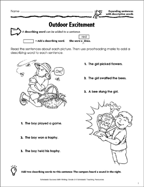 Outdoor Excitement (Expanding Sentences With Descriptive Words) - Printable Worksheet