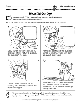 What Did She Say? (Using Quotation Marks) - Printable Worksheet