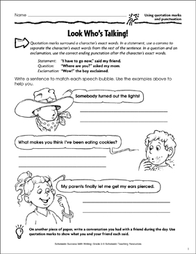 Look Who's Talking! (Using Quotation Marks and Punctuation) - Printable Worksheet