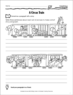 A Circus Train (Completing a Sequenced Paragraph) - Printable Worksheet