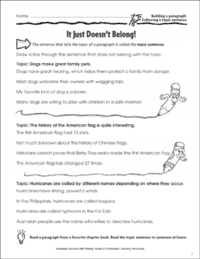 It Just Doesn't Belong! (Building a Paragraph: Following a Topic Sentence) - Printable Worksheet