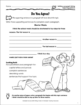 Do You Agree? (Building a Paragraph: Writing Supporting Sentences) - Printable Worksheet