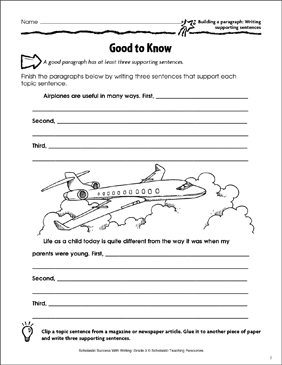 Good to Know (Building a Paragraph: Writing Supporting Sentences) - Printable Worksheet