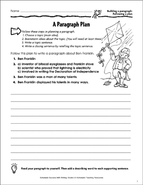 A Paragraph Plan (Building a Paragraph: Following a Plan) - Printable Worksheet