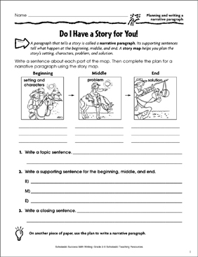 Do I Have a Story for You! (Planning and Writing a Narrative Paragraph) - Printable Worksheet