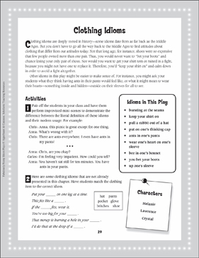 Clothing Idioms: Read-Aloud Play - Printable Worksheet