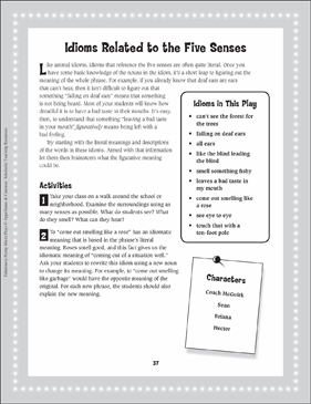 Losing Leaves a Bad Taste in My Mouth (Idioms Relating to the Five Senses): Read-Aloud Play - Printable Worksheet