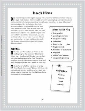Bitten by the Idiom Bug (Insect Idioms): Read-Aloud Play - Printable Worksheet