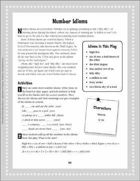 The Odds Are a Million to One That This Is a True Story (Number Idioms): Read-Aloud Play - Printable Worksheet