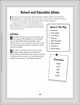 A Rock 'n' Roll Brainstorm (School and Education Idioms): Read-Aloud Play - Printable Worksheet