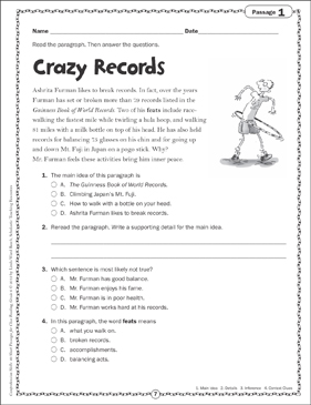 Crazy Records: Close Reading Passage - Printable Worksheet