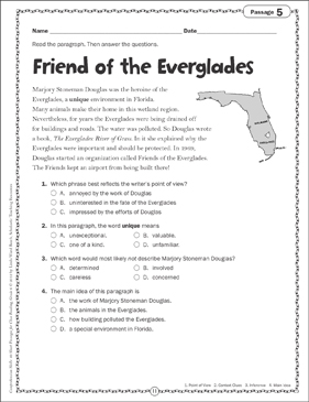 Friend of the Everglades: Close Reading Passage | Printable ...