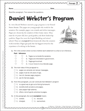 Daniel Webster's Program: Close Reading Passage - Printable Worksheet
