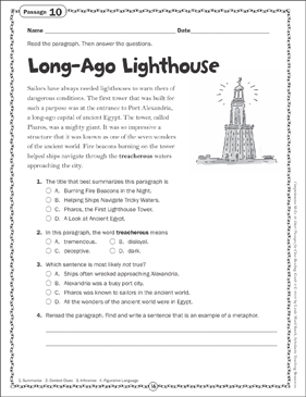Long-Ago Lighthouse: Close Reading Passage - Printable Worksheet
