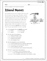 Island Homes Close Reading Passage - Printable Worksheet