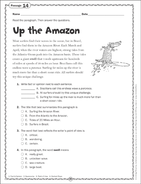 The Up the Amazon: Close Reading Passage - Printable Worksheet