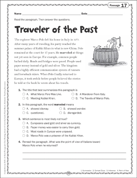 Traveler of the Past: Close Reading Passage - Printable Worksheet