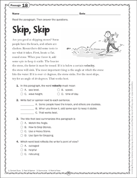 Skip, Skip: Close Reading Passage - Printable Worksheet