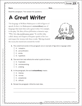 A Great Writer: Close Reading Passage - Printable Worksheet