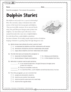 The Dolphin Stories Close Reading Passage - Printable Worksheet