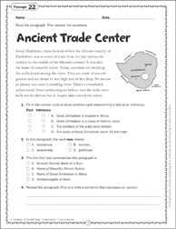Ancient Trade Center: Close Reading Passage - Printable Worksheet
