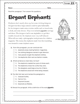 Elegant Elephants: Close Reading Passage - Printable Worksheet