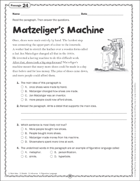 Matzeliger's Machine: Close Reading Passage - Printable Worksheet