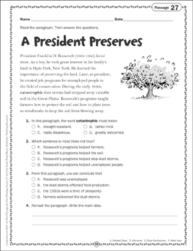 A President Preserves Close Reading Passage - Printable Worksheet