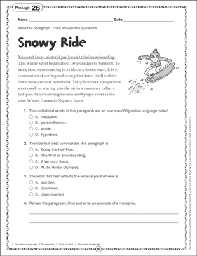Snowy Ride: Close Reading Passage - Printable Worksheet