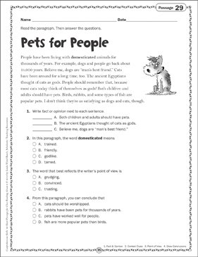 Pets for People: Close Reading Passage - Printable Worksheet