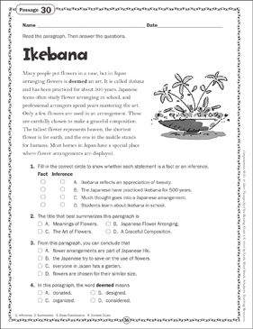 Ikebana: Close Reading Passage - Printable Worksheet