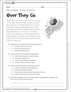 Over They Go: Close Reading Passage - Printable Worksheet