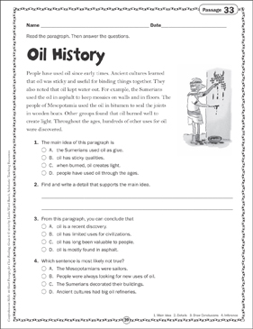 Oil History Close Reading Passage - Printable Worksheet
