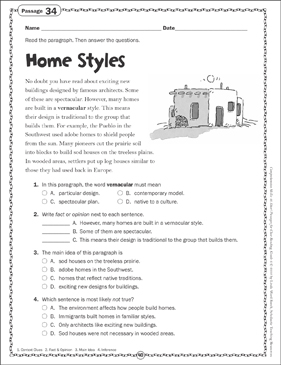 Home Styles: Close Reading Passage - Printable Worksheet