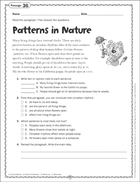 Patterns in Nature: Close Reading Passage - Printable Worksheet