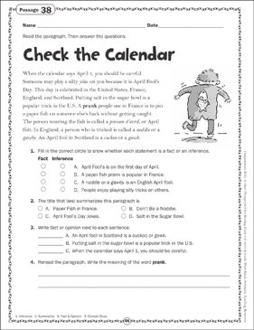 Check the Calendar: Close Reading Passage - Printable Worksheet
