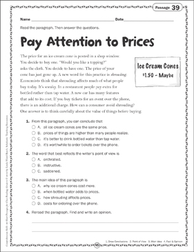 Pay Attention to Prices: Close Reading Passage - Printable Worksheet