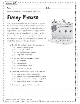 Funny Phrase: Close Reading Passage - Printable Worksheet
