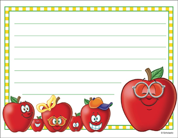 Happy and Proud Apple: Stationery - Printable Worksheet
