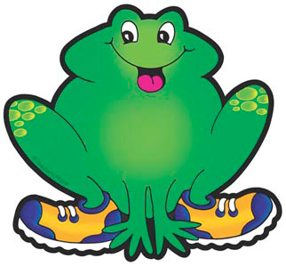 Frog With Blue and Yellow Sneakers - Image Clip Art