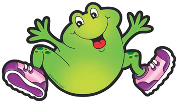 Frog With Yellow and Purple Sneakers - Image Clip Art