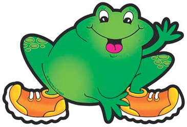 Frog With Orange and Yellow Sneakers - Image Clip Art