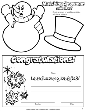 Snowman and Winter Certificate - Printable Worksheet