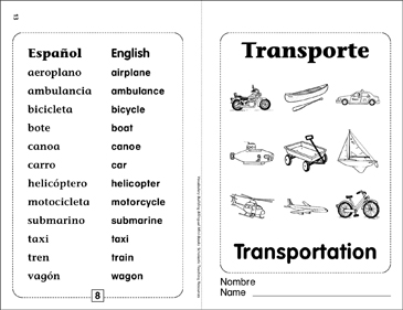 Transporte/Transportation: Bilingual Mini-Book - Printable Worksheet