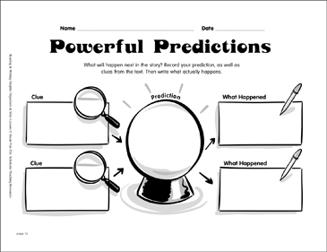 Reading Graphic Organizer: Powerful Predictions - Printable Worksheet