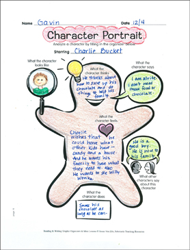 Reading Graphic Organizer: Character Portrait - Printable Worksheet