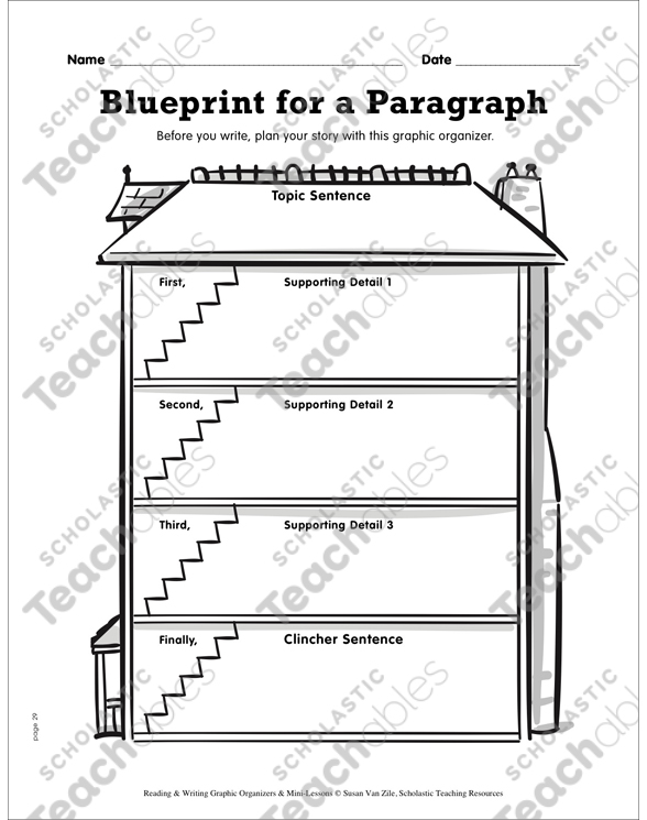 Writing graphic organizer blueprint for a paragraph printable see inside image malvernweather Choice Image