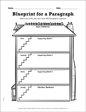 Writing Graphic Organizer: Blueprint for a Paragraph - Printable Worksheet