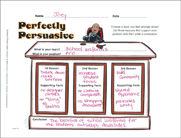 Writing Graphic Organizer: Perfectly Persuasive - Printable Worksheet